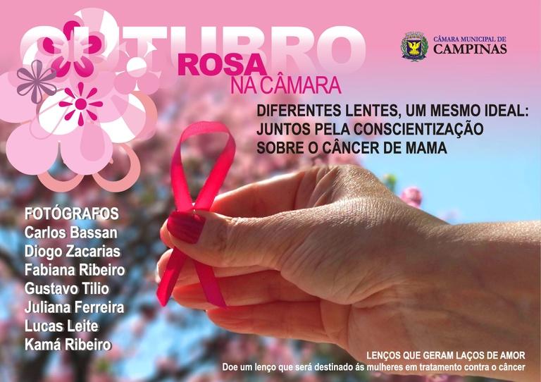Exposição de fotos e campanha de doação de lenços marcam oficialmente o Outubro Rosa na Câmara de Campinas